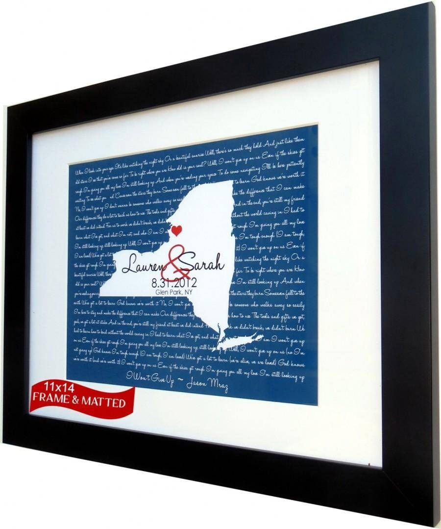 Framed Song Lyrics: Any Wedding Song Lyrics First Dance Map Wall Regarding Current Personalized Map Wall Art (View 7 of 20)
