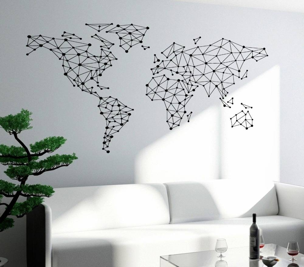 Free Shipping Art Wall Sticker Special World Map Geometric Design With Best And Newest World Map Wall Art Stickers (View 20 of 20)