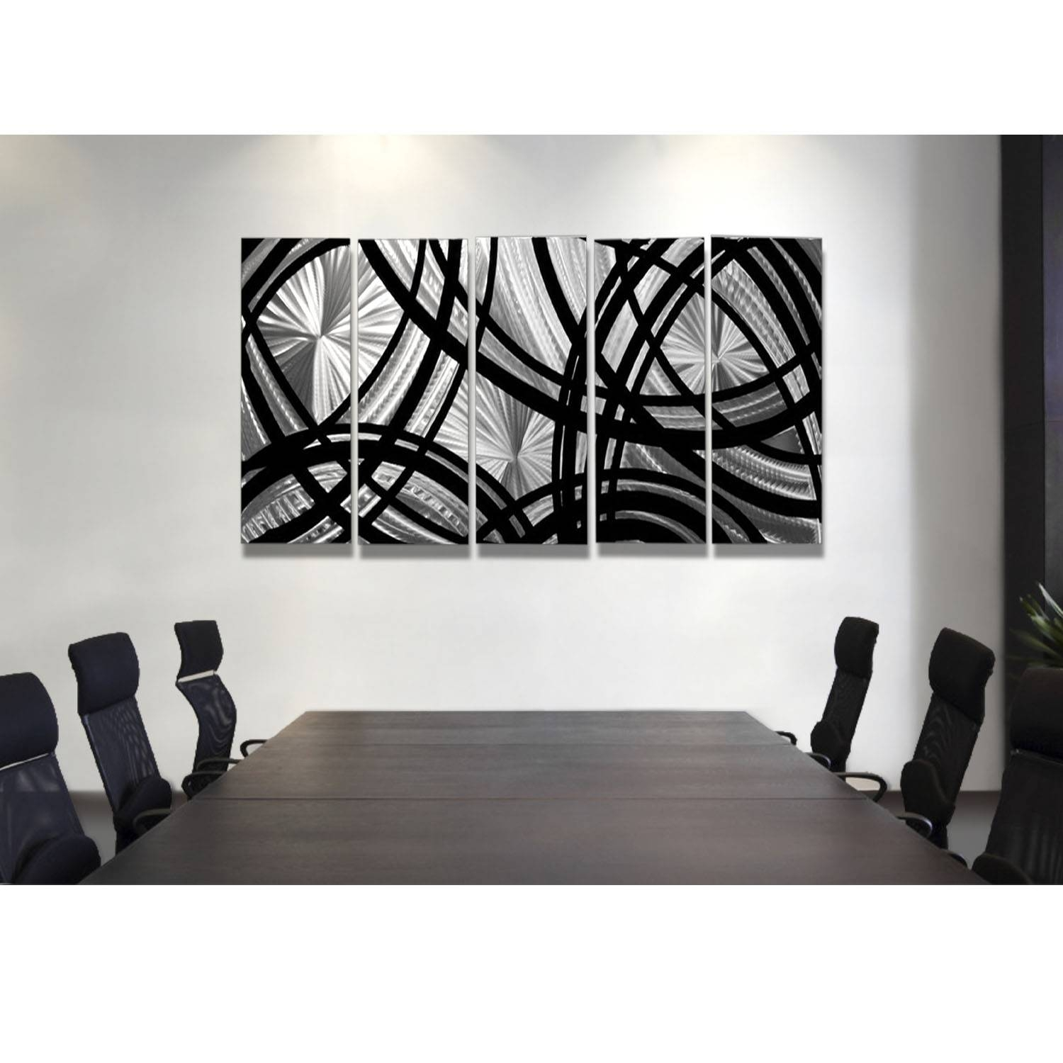 Frequency One – Black And Silver Metal Wall Art – 5 Panel Wall Intended For 2018 Black And Silver Metal Wall Art (View 5 of 20)