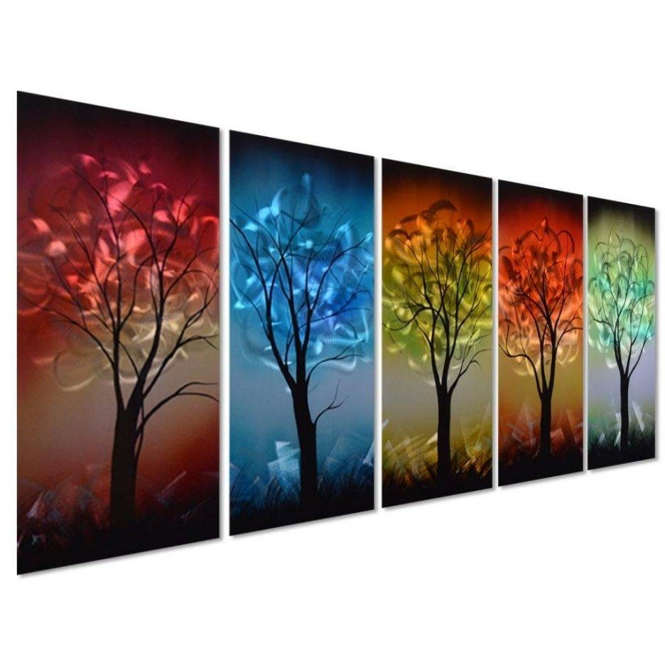 From Dusk Till Dawn Colorful Tree Metal Wall Art Decor Large Set In 2017 Colorful Metal Wall Art (Gallery 7 of 20)