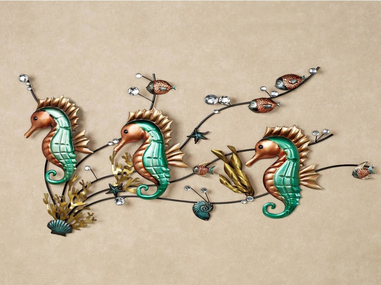Functional Bedroom Furniture, Seahorse Metal Wall Plaques Accents In Most Current Seahorse Metal Wall Art (View 6 of 20)