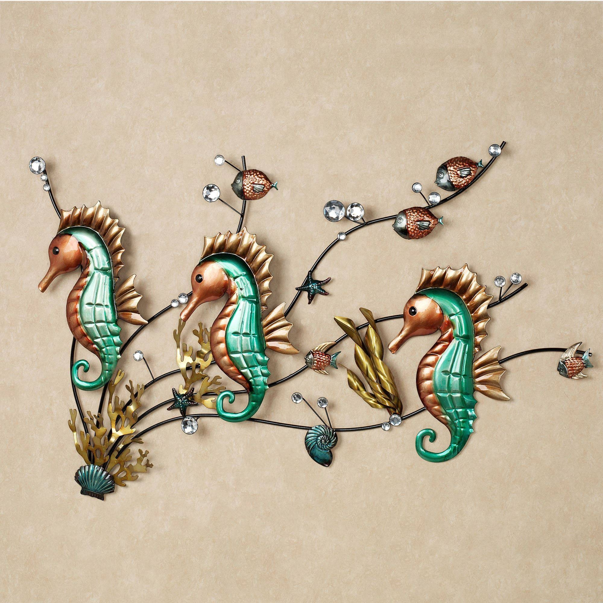 Functional Bedroom Furniture, Seahorse Metal Wall Plaques Accents Regarding 2017 Seahorse Metal Wall Art (View 3 of 20)