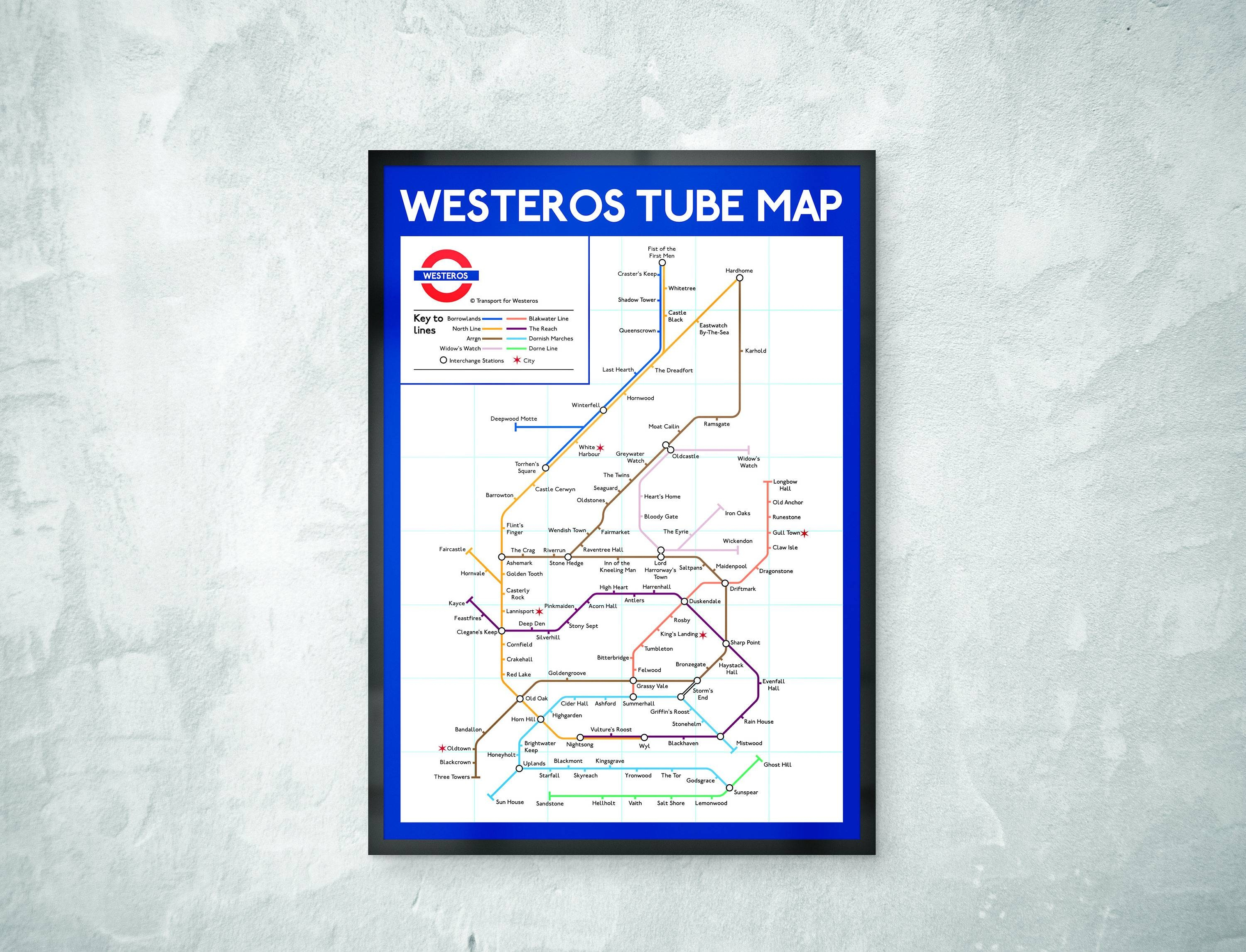 Game Of Thrones Tube Map Print Got Gift Game Of Thrones Intended For Most Current Tube Map Wall Art (Gallery 13 of 20)