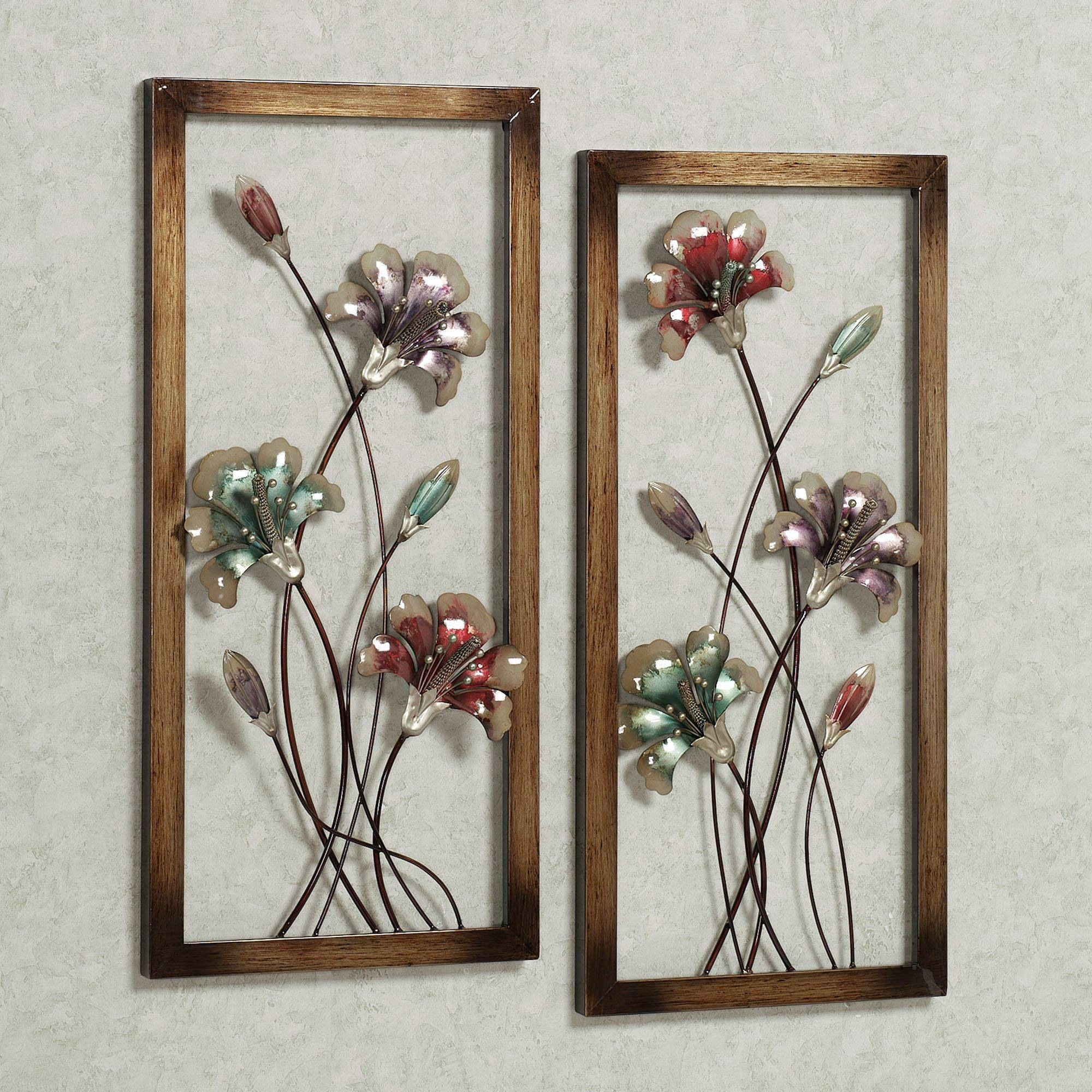 Garden Whispers Floral Metal Wall Art Panel Set Regarding Best And Newest Outdoor Metal Wall Art Panels (View 7 of 20)