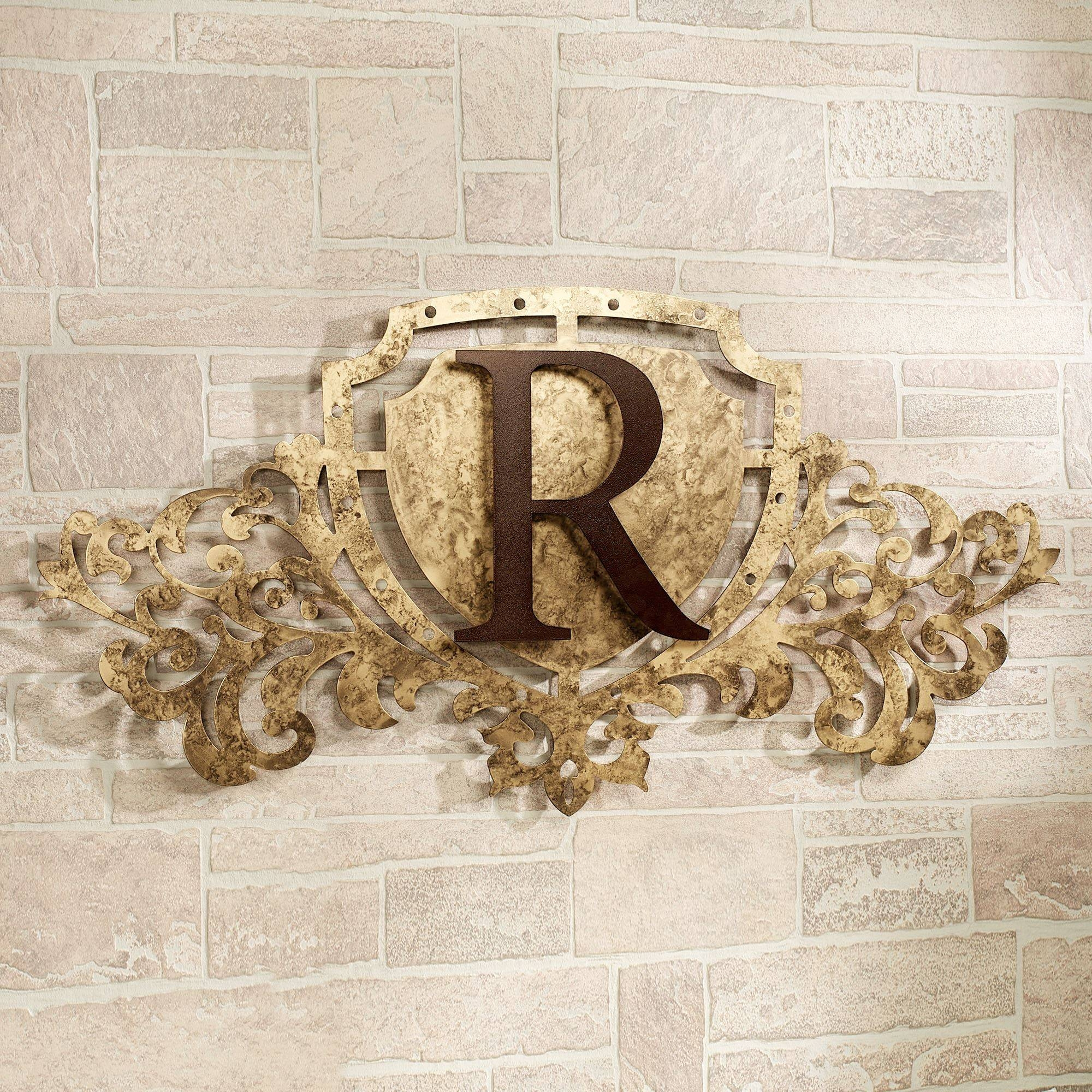 Generations Gold Monogram Crest Metal Wall Art Sign Regarding Most Current Monogram Metal Wall Art (View 10 of 20)