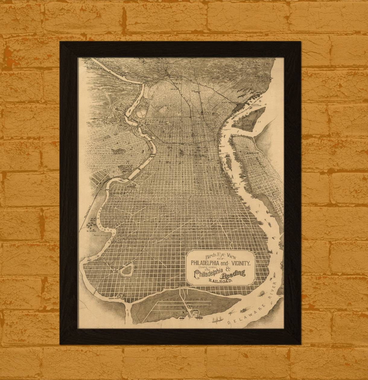 Get 1 Free Print High Resolution Map Of Philadelphia 1870 In Most Up To Date Philadelphia Map Wall Art (View 2 of 20)