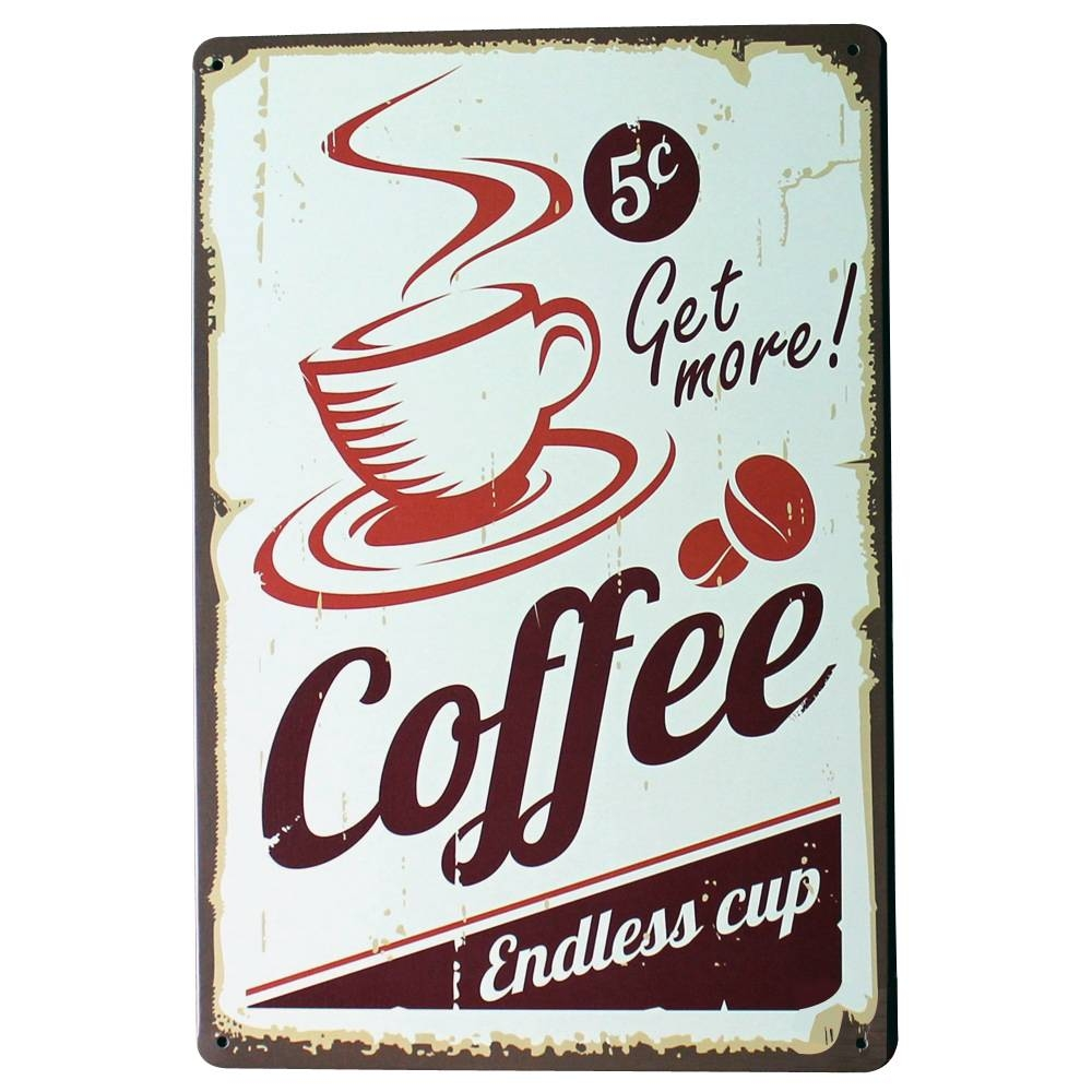 Get More Coffee Metal Tin Sign Fashion Retro Decor Plaque For Shop Pertaining To Newest Coffee Metal Wall Art (View 13 of 20)