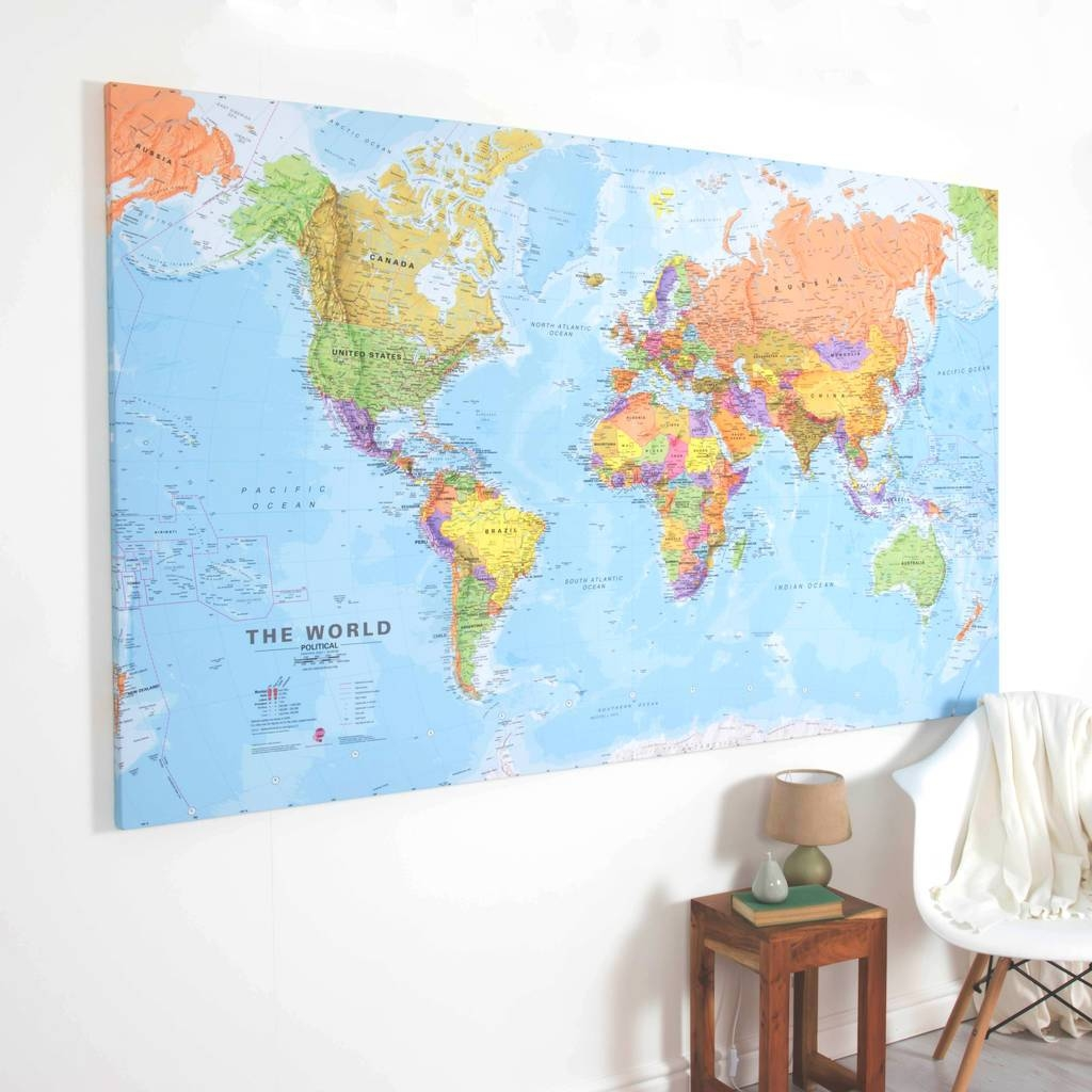 Giant Canvas World Mapmaps International | Notonthehighstreet Throughout Best And Newest World Map Wall Art Canvas (View 7 of 20)