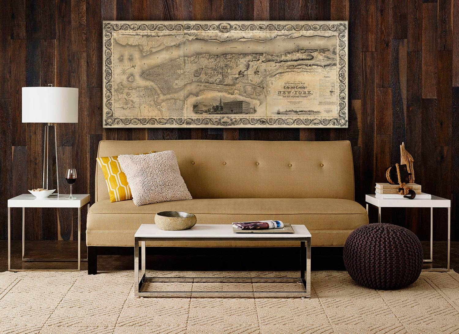 20 best collection of new york map wall art for New york home decorations