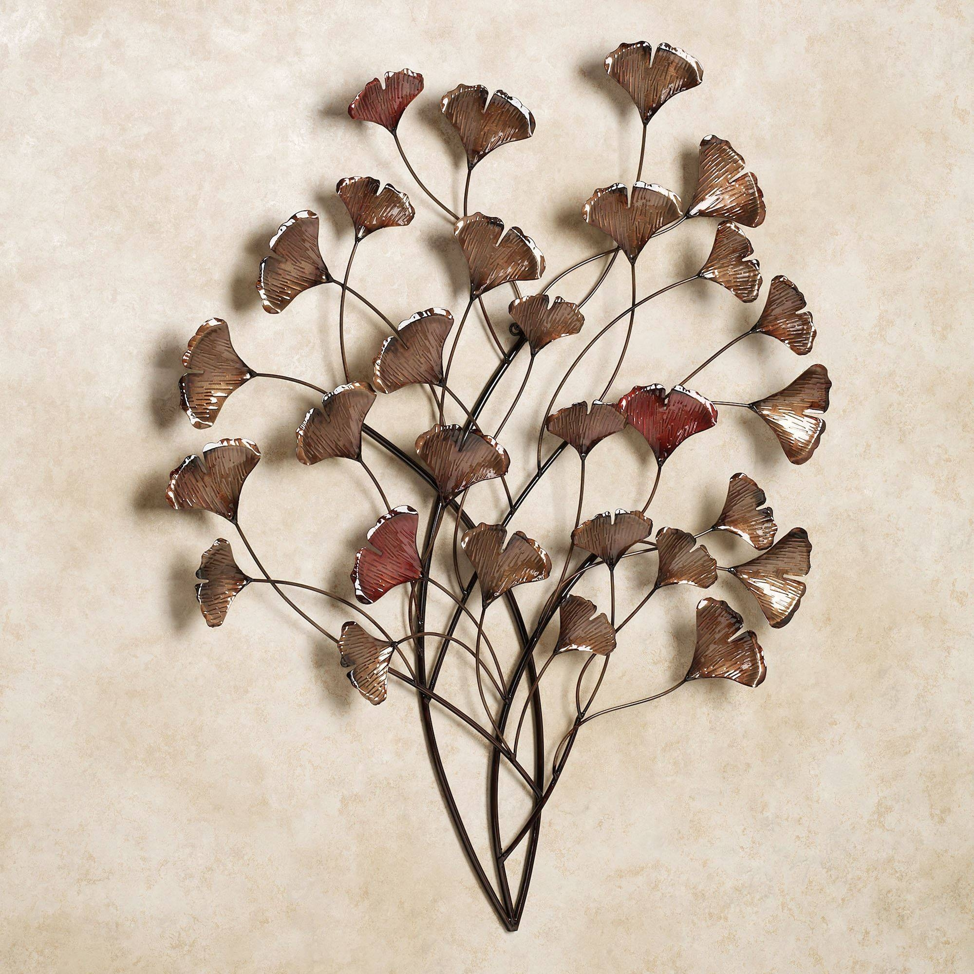 Ginkgo Whispers Metal Wall Sculpture Within Current Metal Wall Art Leaves (Gallery 11 of 20)