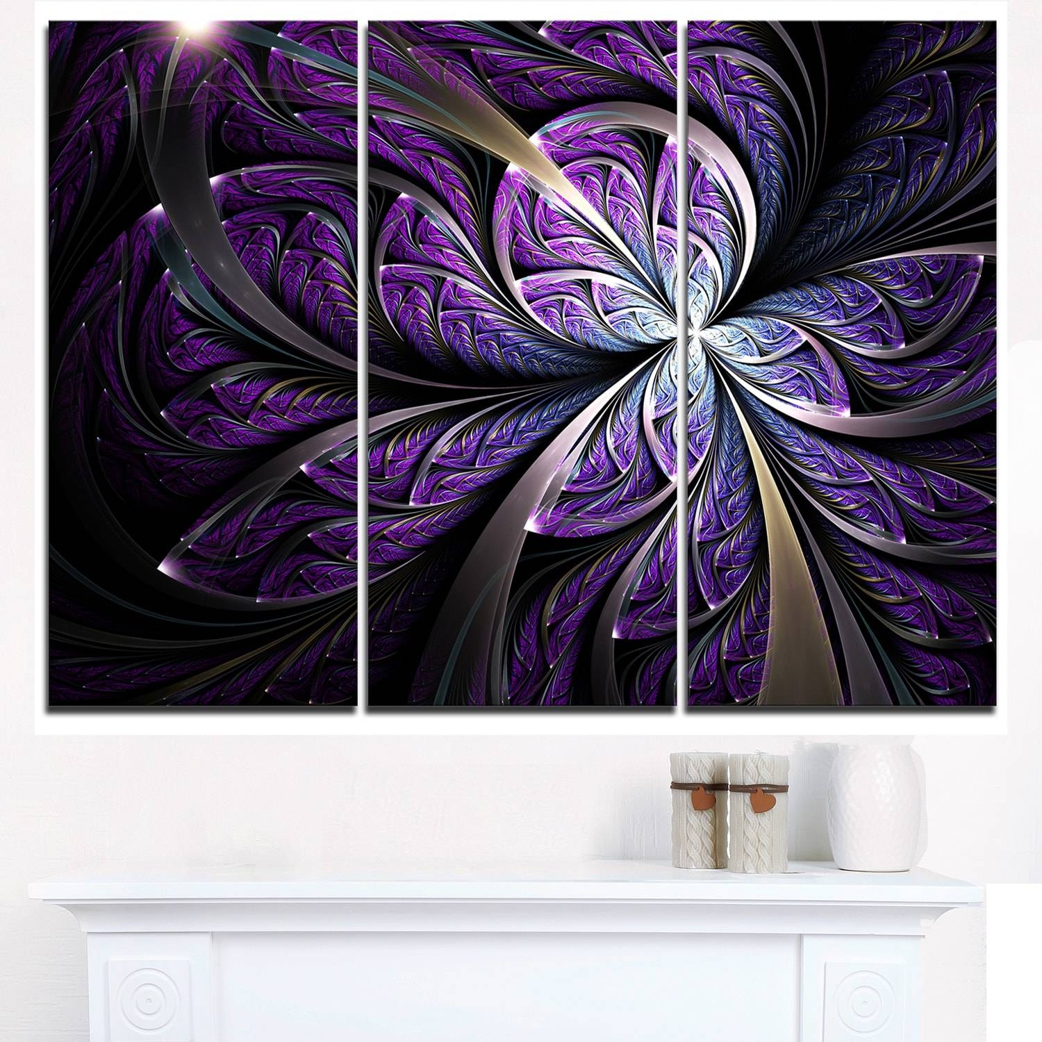 Glittering Purple Fractal Flower – Floral Glossy Metal Wall Art Within Most Recent Purple Metal Wall Art (View 6 of 20)
