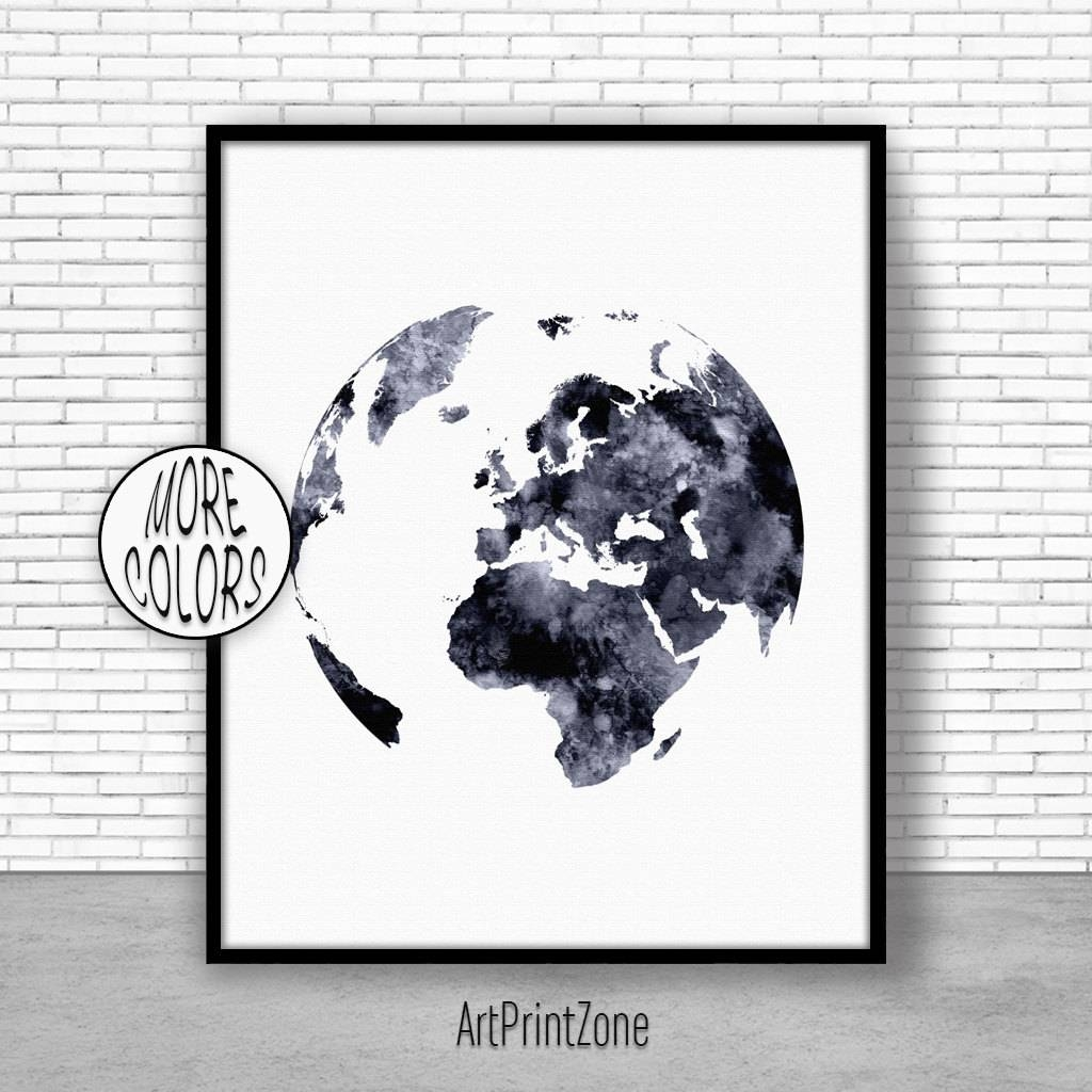 Globe Art Globe Print Globe Decor World Print Europe Map World Map With Most Popular Europe Map Wall Art (View 8 of 20)