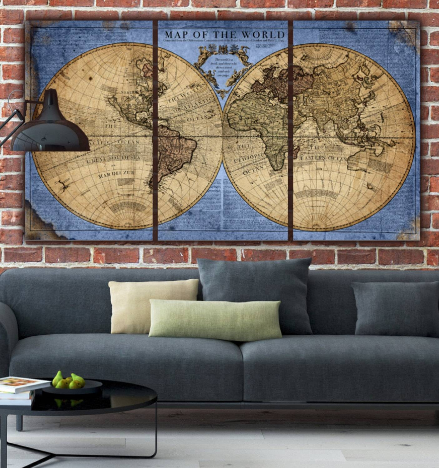 Globe World Map Canvas Blue/tan (View 6 of 20)