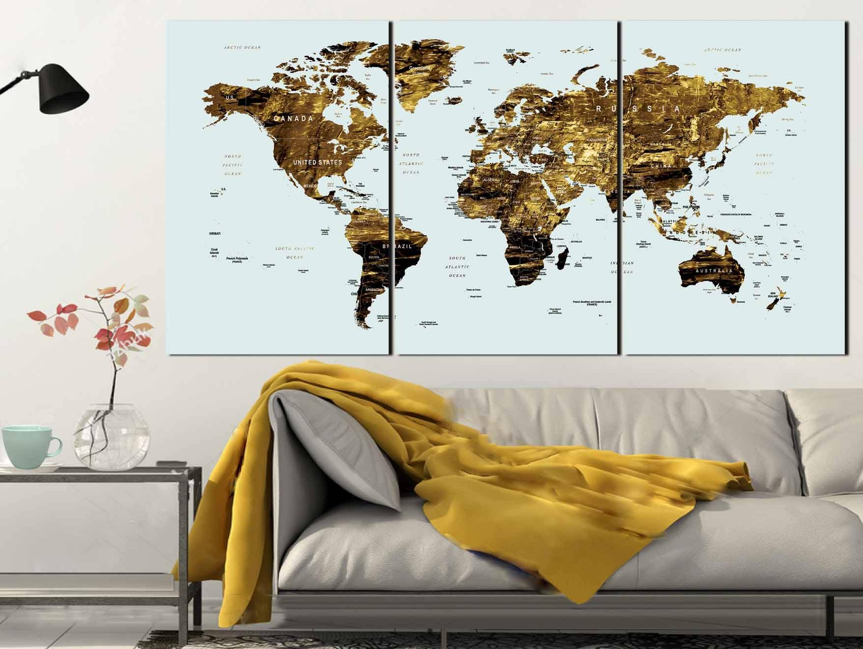 Gold Color Map Art,world Map Canvas Art,world Map Wall Art,large With Regard To Best And Newest Large World Map Wall Art (View 7 of 20)
