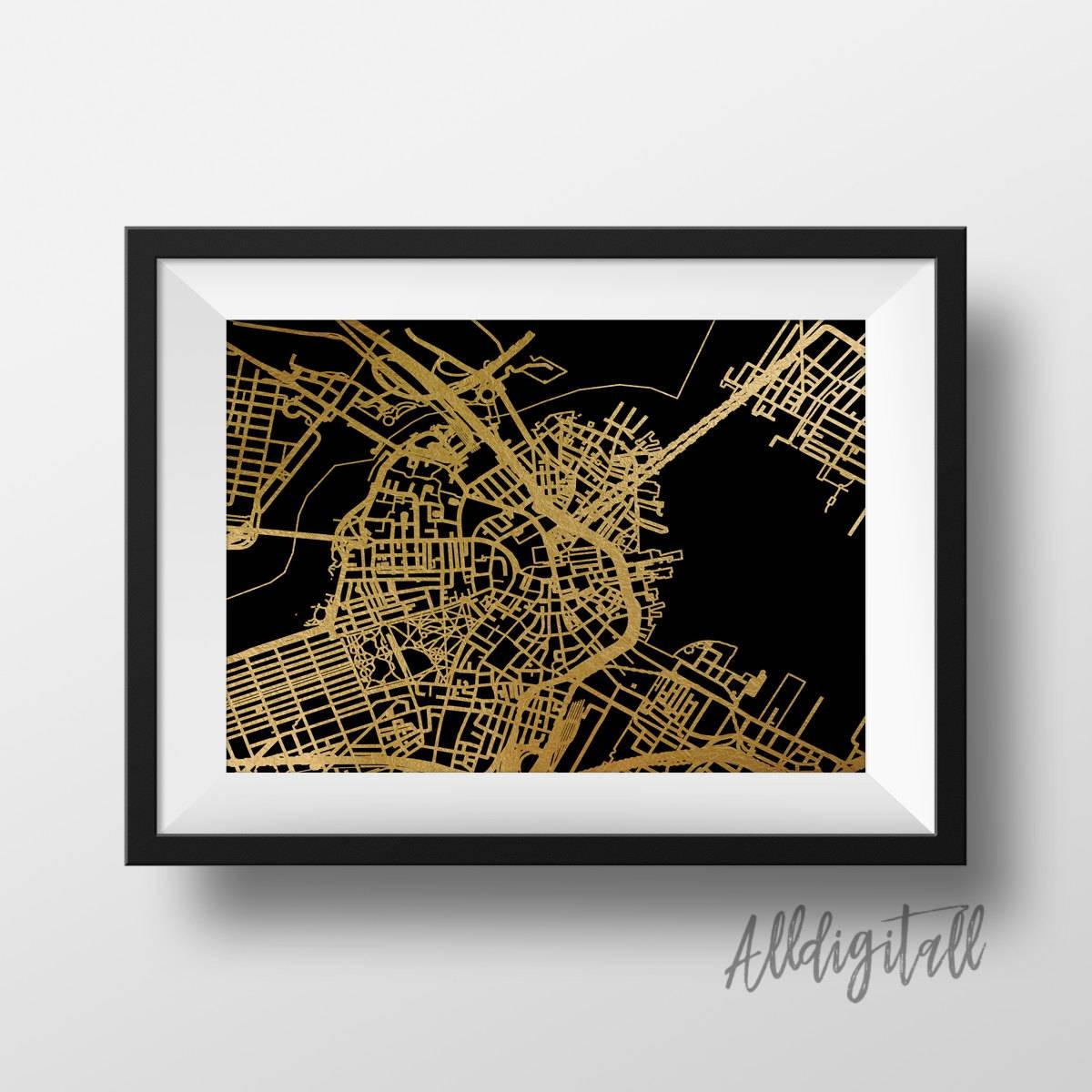 Gold Foil Boston Map Printable Map Wall Art Boston Map Print In 2018 Boston Map Wall Art (View 1 of 20)
