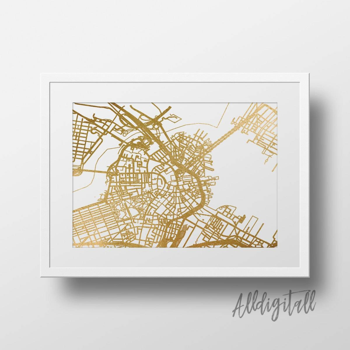 Gold Foil Boston Map Printable Map Wall Art Boston Map Print Inside Most Recently Released Boston Map Wall Art (View 16 of 20)