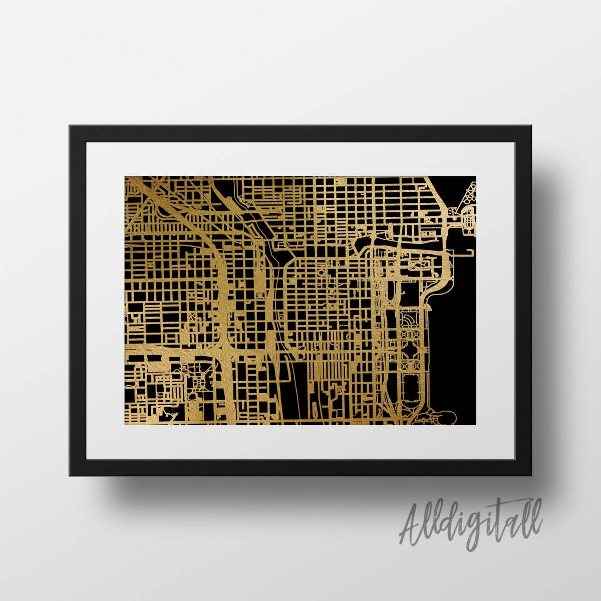 Gold Foil Chicago Map Printable Map Wall Art Chicago Downtown For Most Recent Chicago Map Wall Art (View 2 of 20)