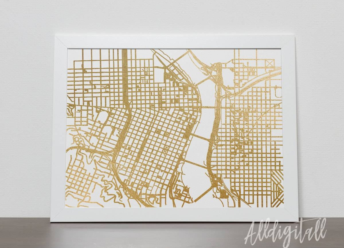 Gold Foil Portland Map Printable Map Wall Art Portland Map Pertaining To Latest Portland Map Wall Art (Gallery 7 of 20)