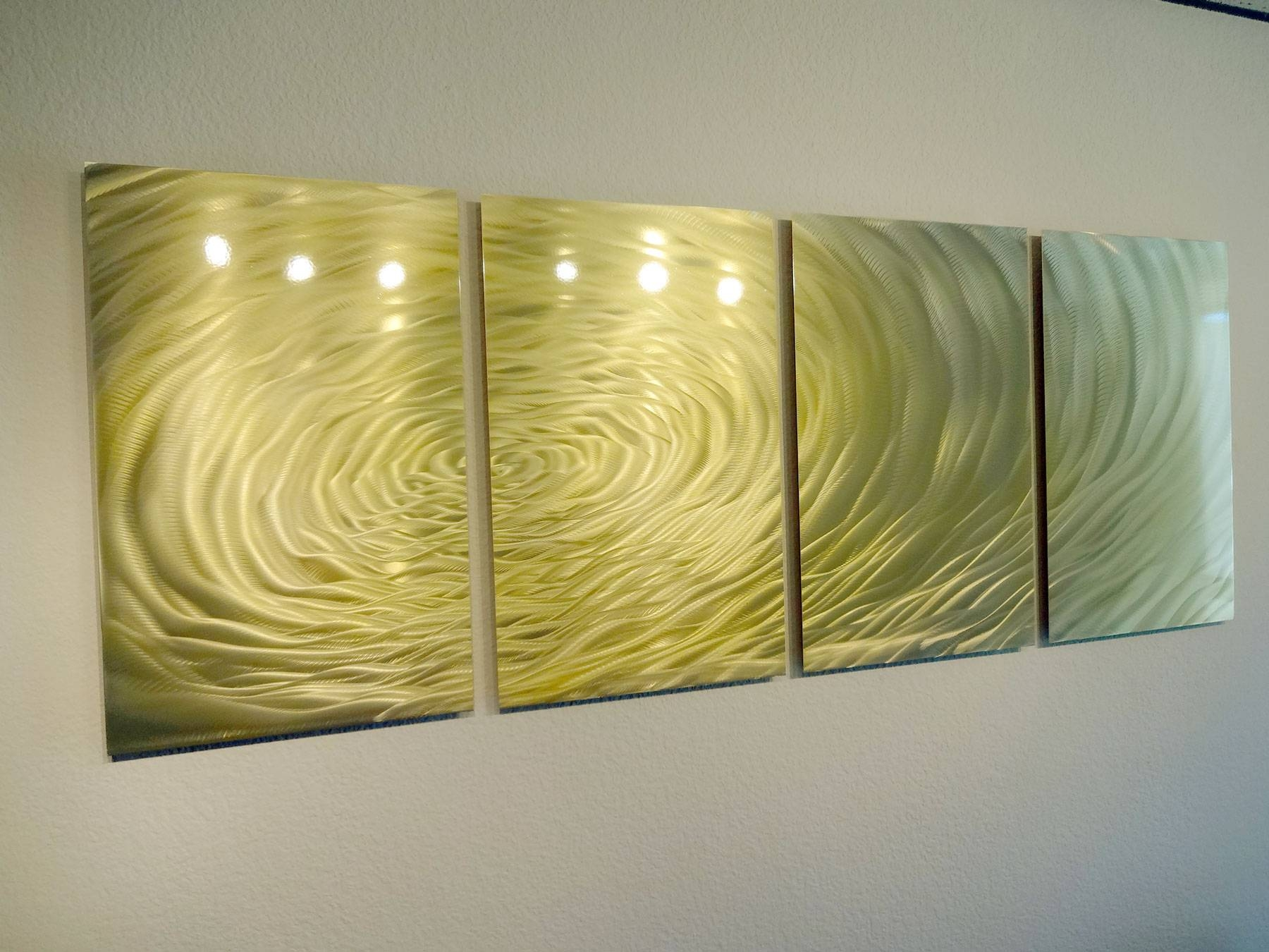 Gold Ripple  Metal Wall Art Abstract Contemporary Modern Decor With Regard To Most Up To Date Modern Metal Wall Art Decors (View 4 of 20)