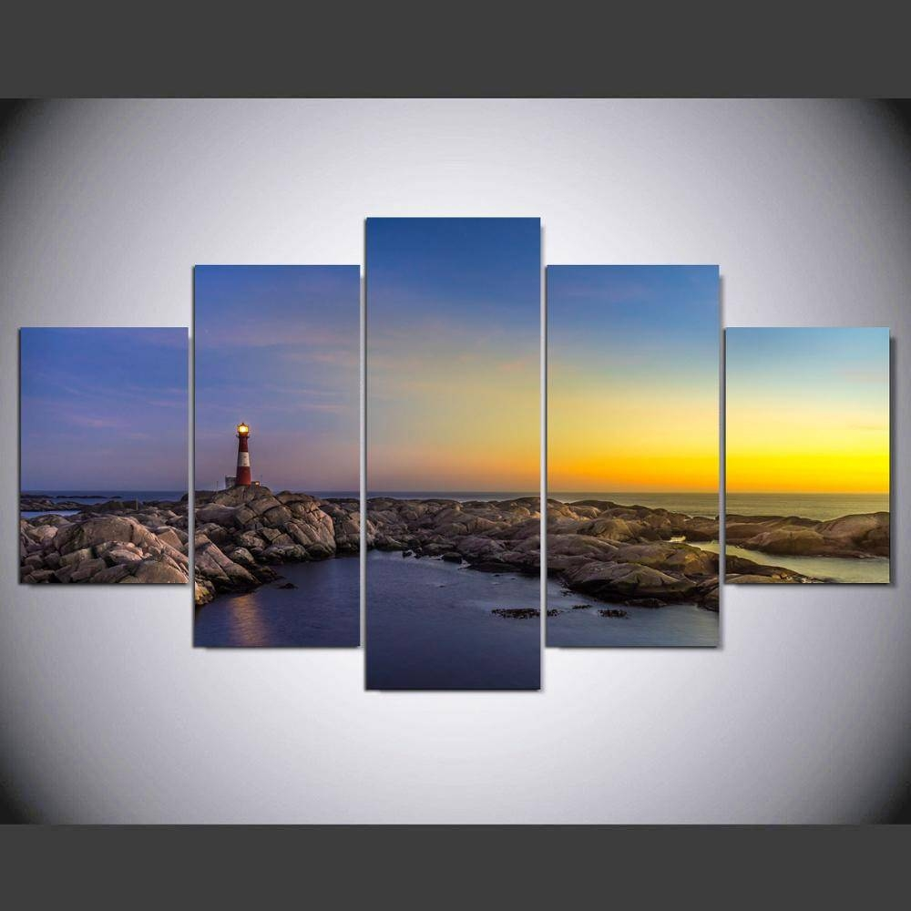 Gorgeous Lighthouse Wall Sticker Art Panels Canvas Photo Prints Pertaining To Current Lighthouse Metal Wall Art (View 18 of 20)