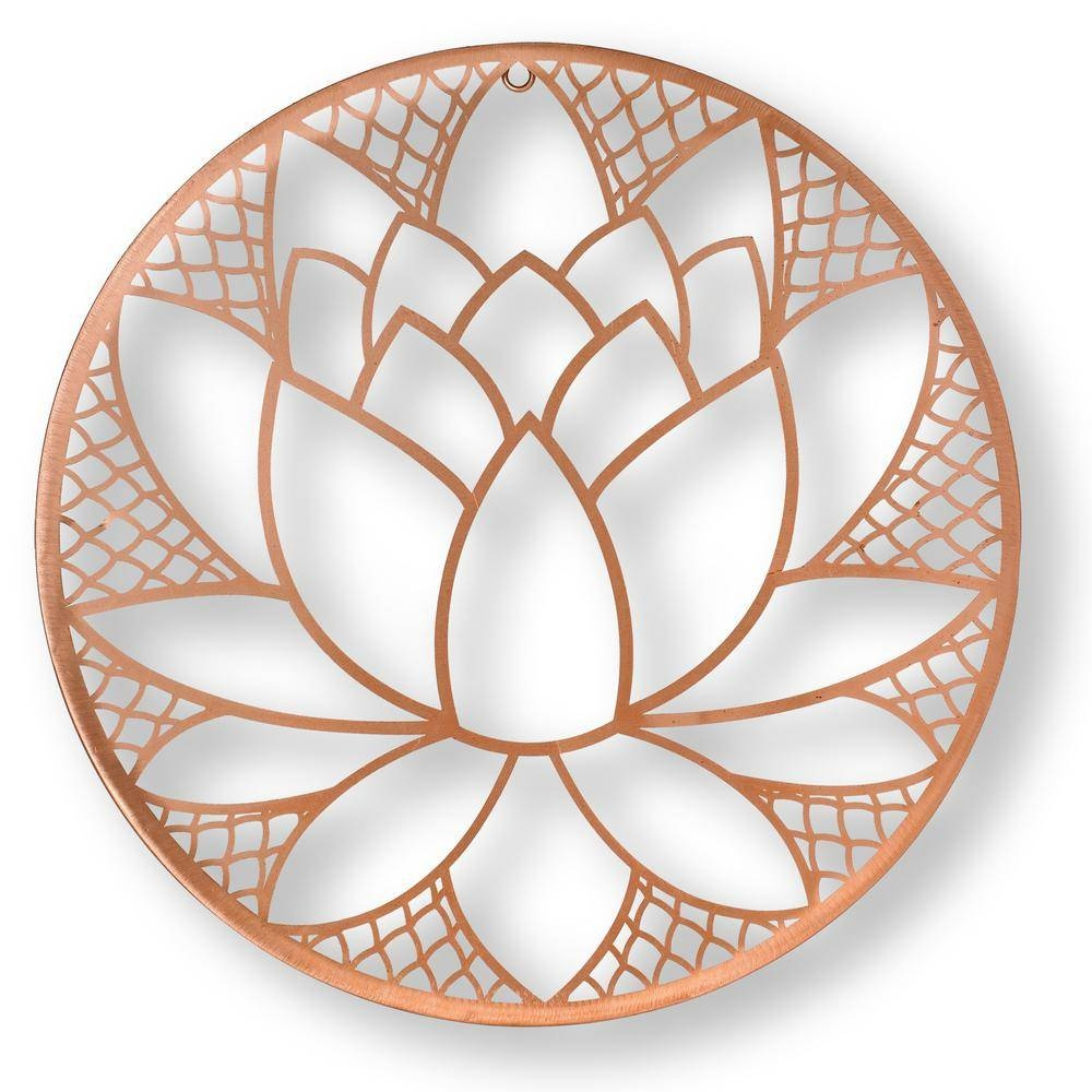 "Graham & Brown 16 In. X 16 In. ""lotus Blossom"" Metal Wall Art Intended For Most Recent Brown Metal Wall Art (Gallery 13 of 20)"