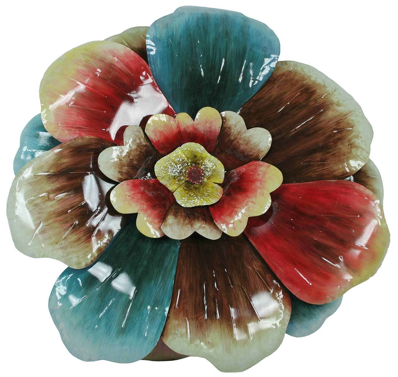 Grand Multi Colored Flower – Floral Metal Wall Art Throughout Recent Multi Color Metal Wall Art (View 4 of 20)