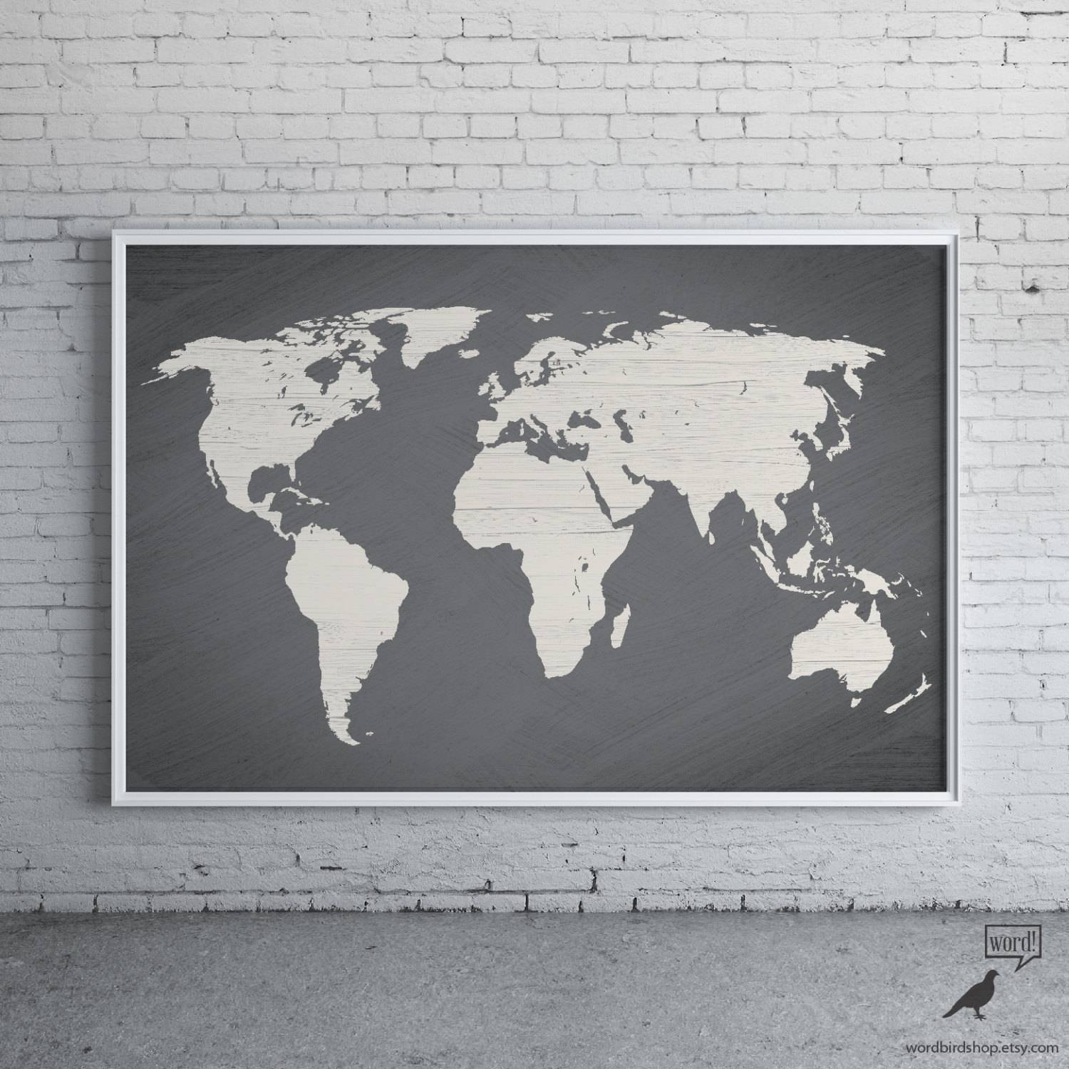 Gray World Map Poster Large World Map Print Modern Home Regarding Best And Newest Map Wall Art Prints (View 6 of 20)