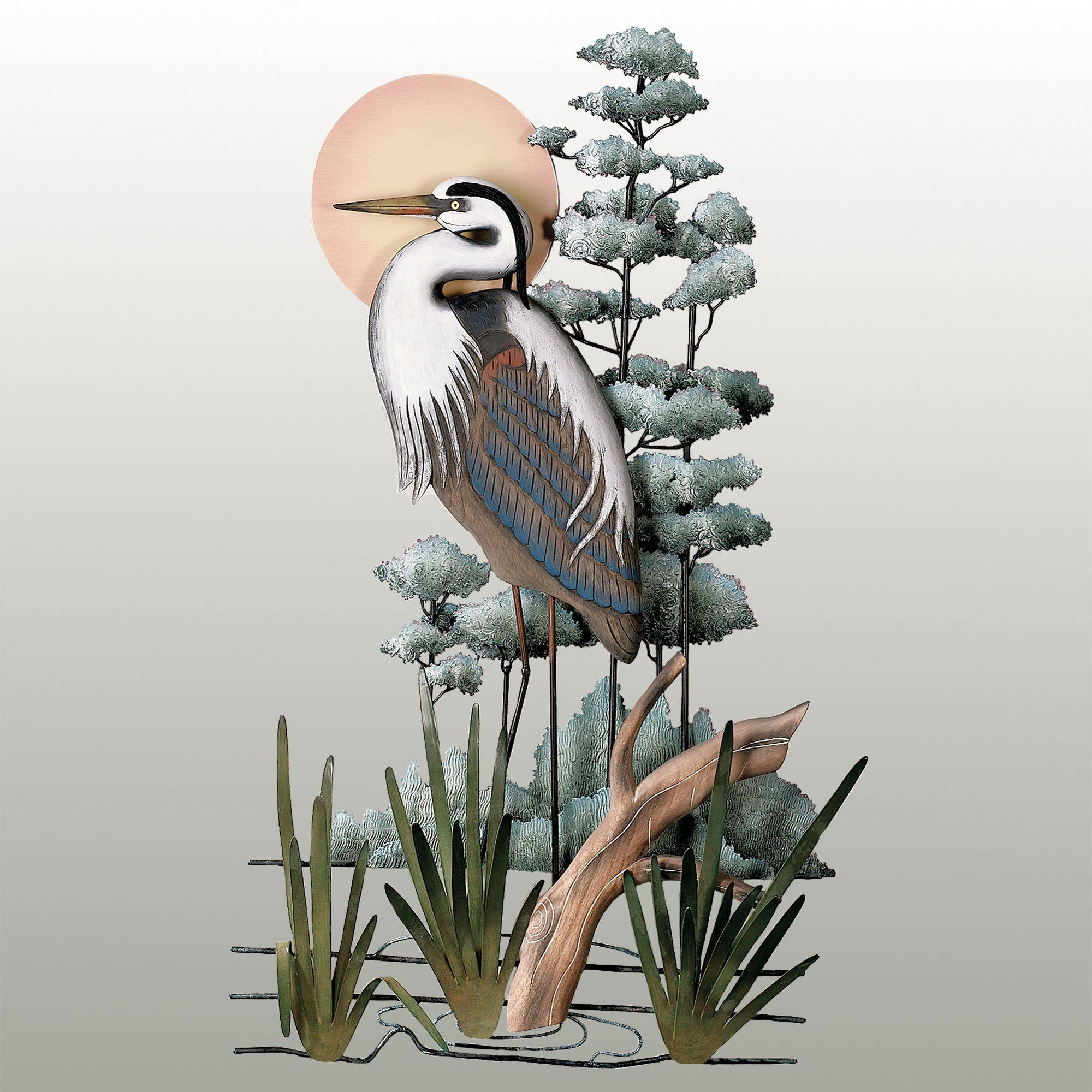 Great Blue Heron Wall Sculpture Inside Most Recently Released Heron Metal Wall Art (View 7 of 20)