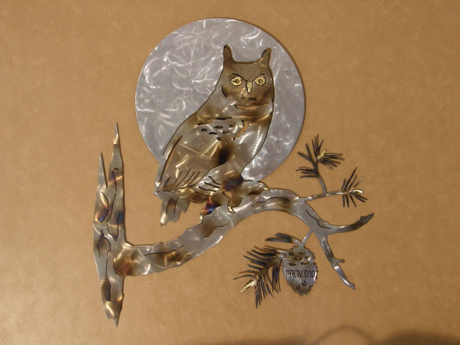 Great Horned Owl Metal Wall Art With 2017 Owls Metal Wall Art (View 4 of 20)