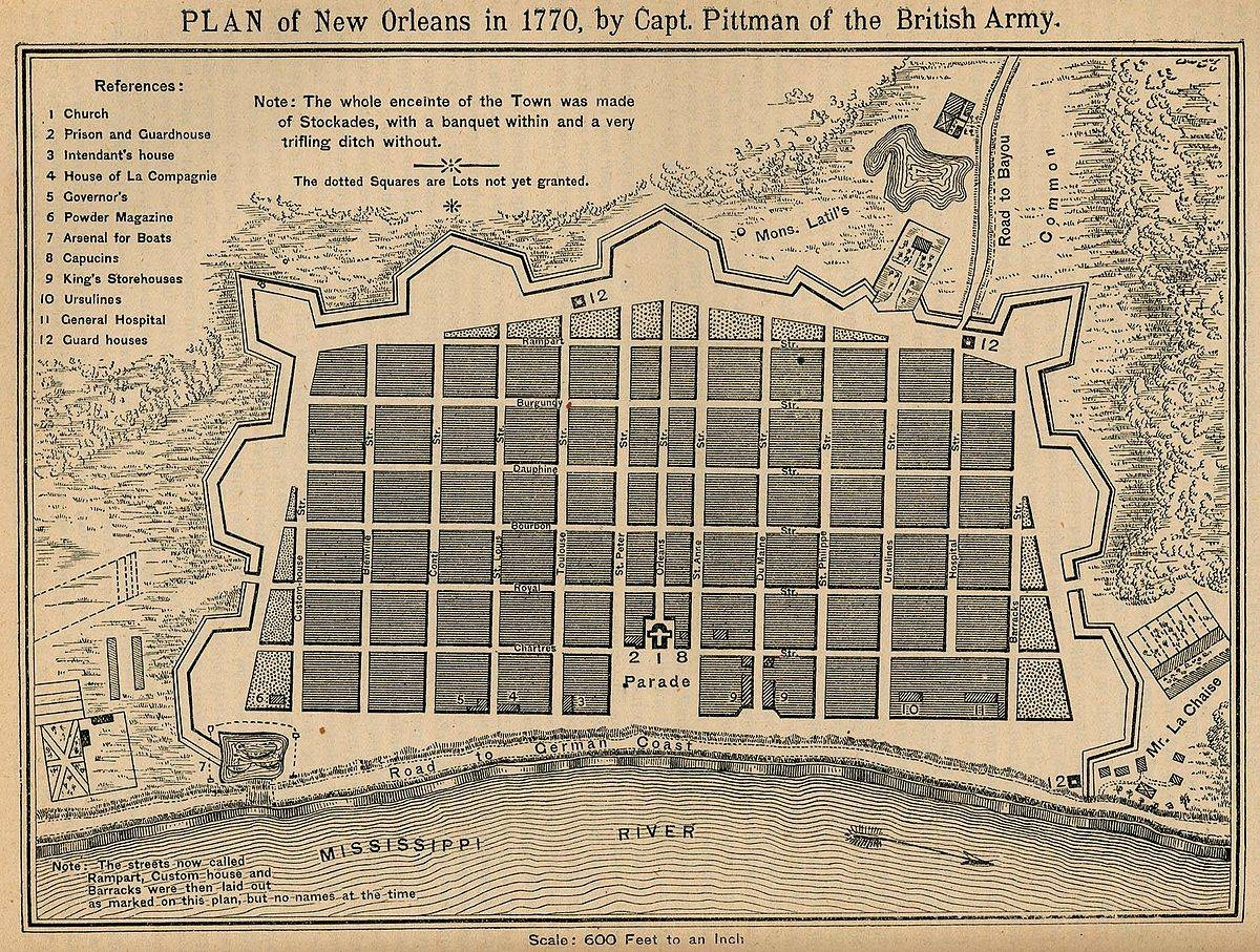 Great New Orleans Fire (1794) – Wikipedia Inside 2017 New Orleans Map Wall Art (Gallery 5 of 20)