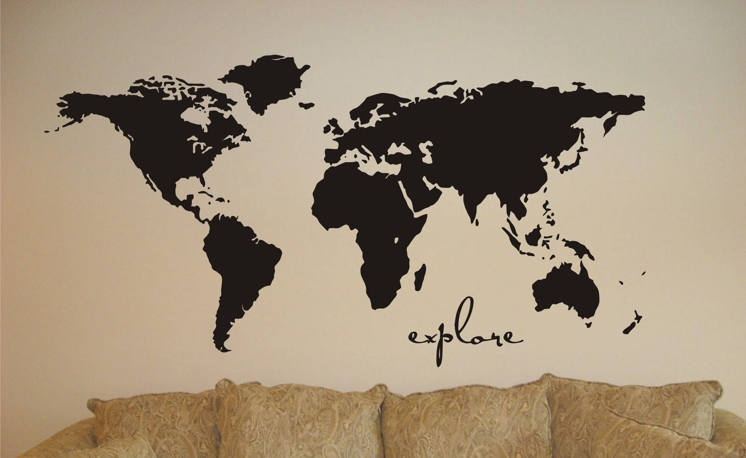 Great Vinyl Wall Sticker Decal Art Explore The World Map Inside Most Up To Date Custom Map Wall Art (Gallery 20 of 20)