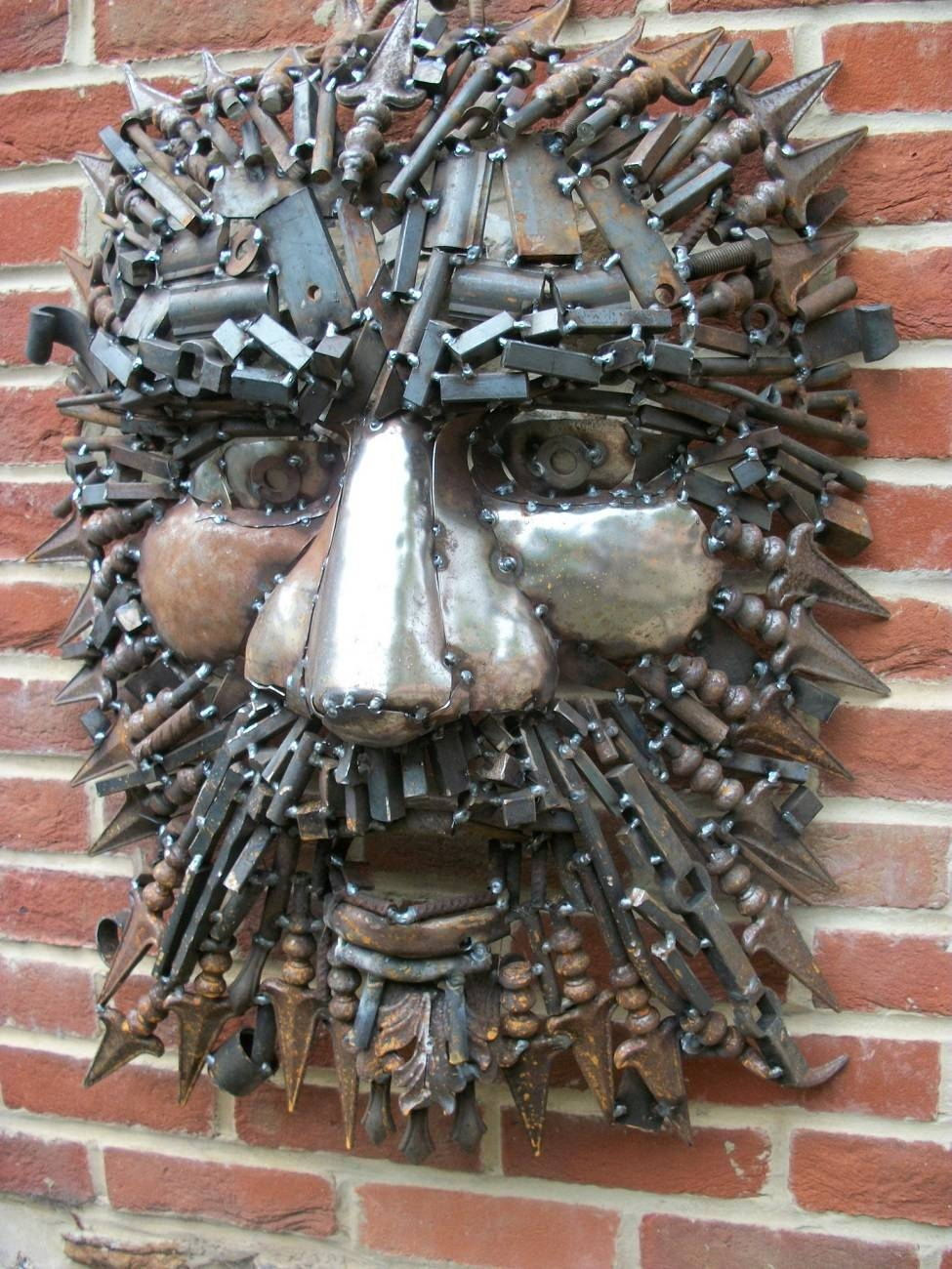 Green Man – Scrap Metal – Mounted Wall/tree – Dadey Fine Metal Art Within Best And Newest Scrap Metal Wall Art (Gallery 4 of 20)