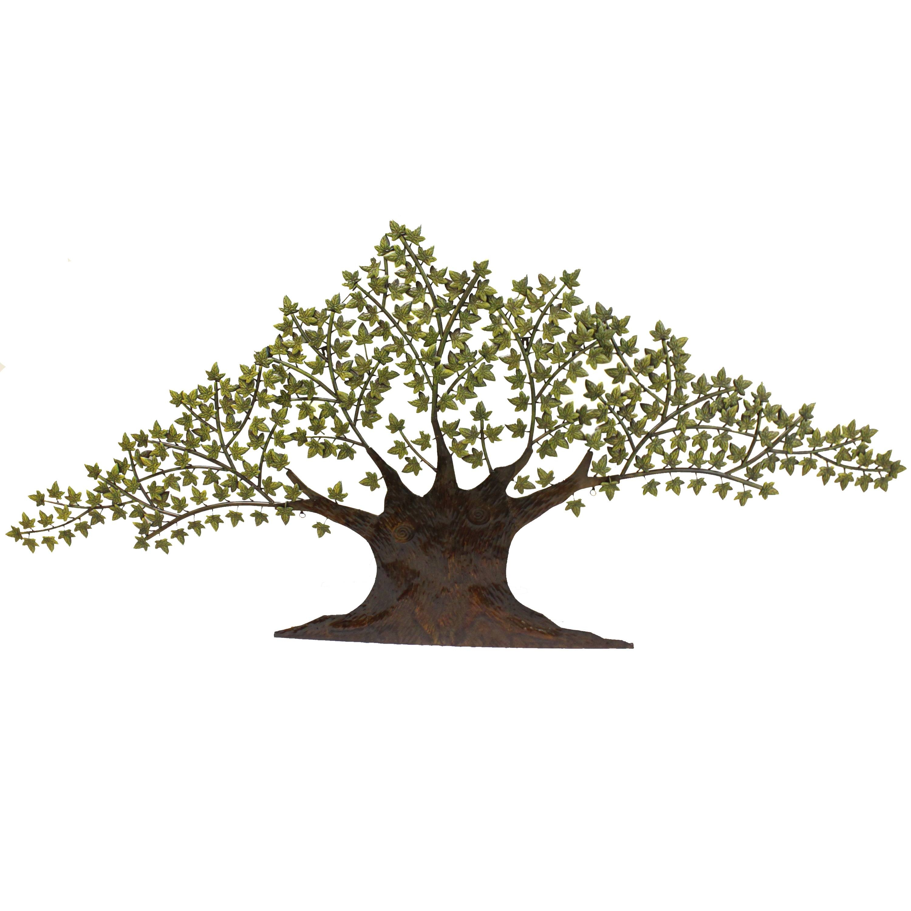Grotesque Tree Of Life Metal Wall Art Decor Sculpture With Green With Most Recent Metal Wall Art Trees And Leaves (View 7 of 20)