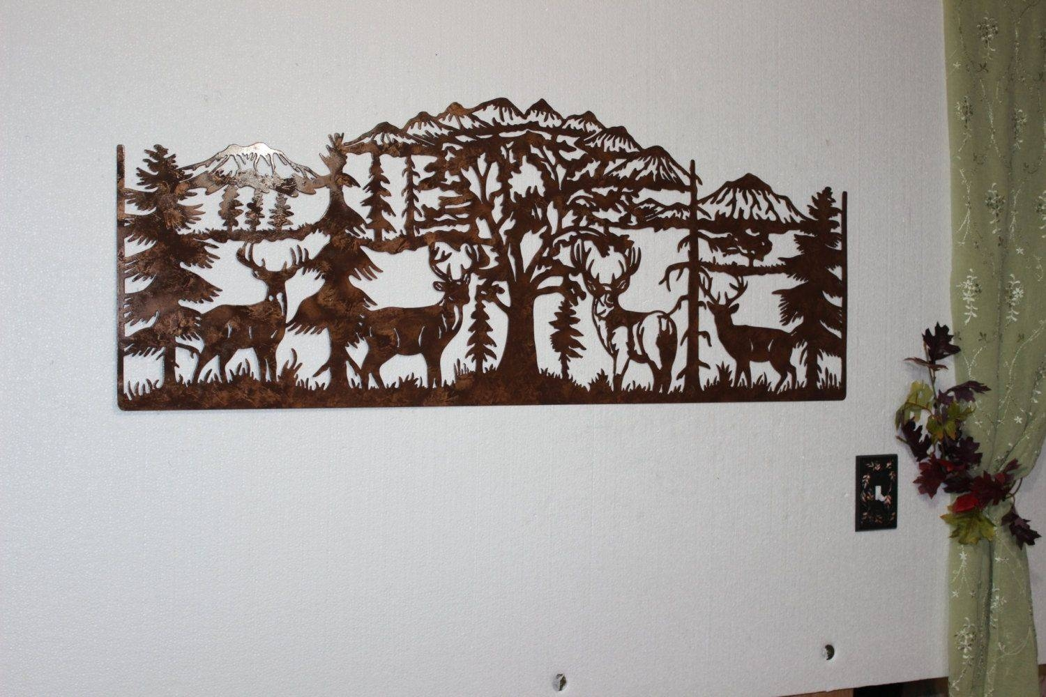Hand Crafted Deer And Mountain Scene With 4 Majestic Bucks Large For Best And Newest Huge Metal Wall Art (View 11 of 20)