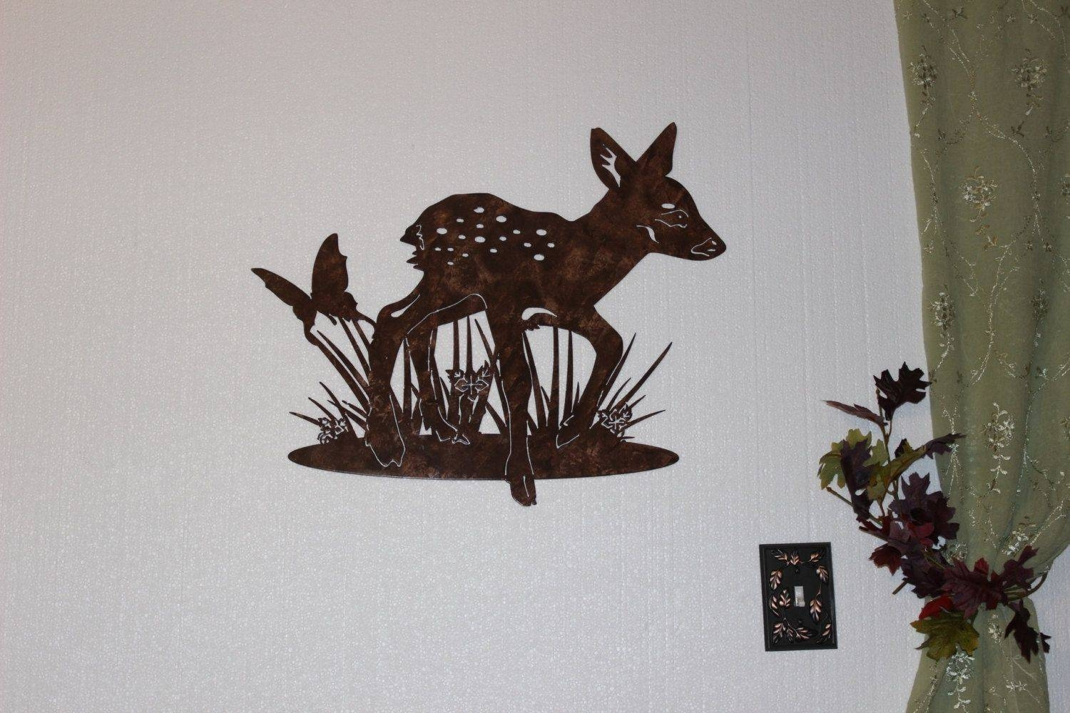 Hand Crafted Deer Fawn With Butterfly Metal Wall Art Country Throughout Most Popular Deer Metal Wall Art (View 9 of 20)