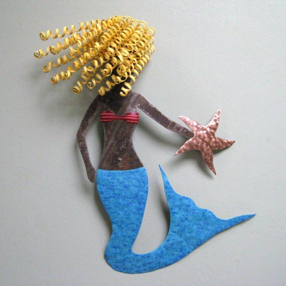 Hand Crafted Handmade Upcycled Metal Blonde Mermaid Wall Art In Latest Mermaid Metal Wall Art (View 12 of 20)