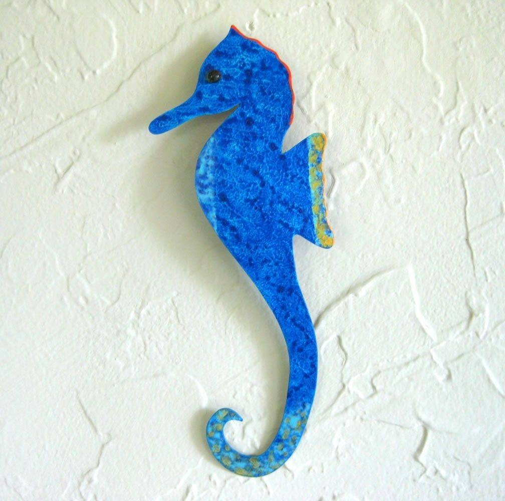 Hand Crafted Handmade Upcycled Metal Blue Seahorse Wall Art Inside Recent Seahorse Metal Wall Art (Gallery 5 of 20)