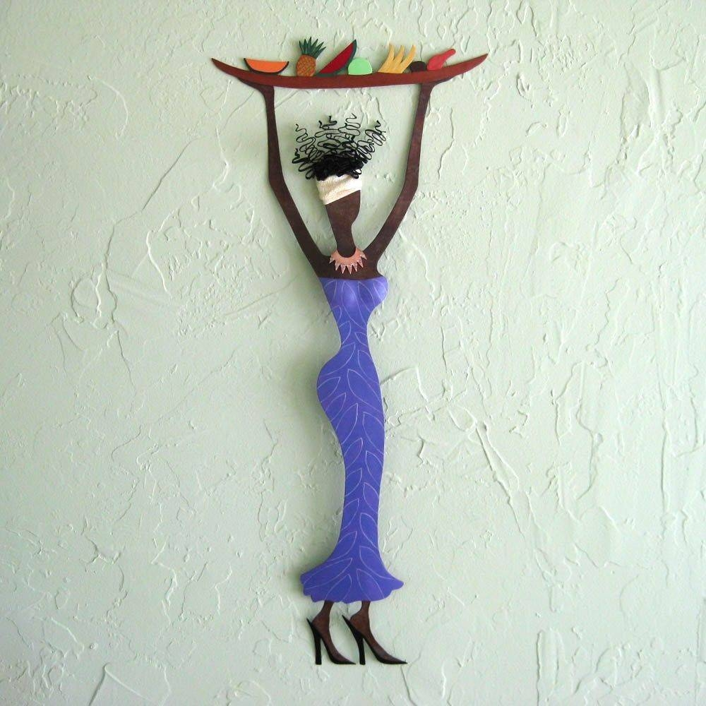 Hand Crafted Handmade Upcycled Metal Exotic African Lady With Throughout Current Handmade Metal Wall Art (View 11 of 20)