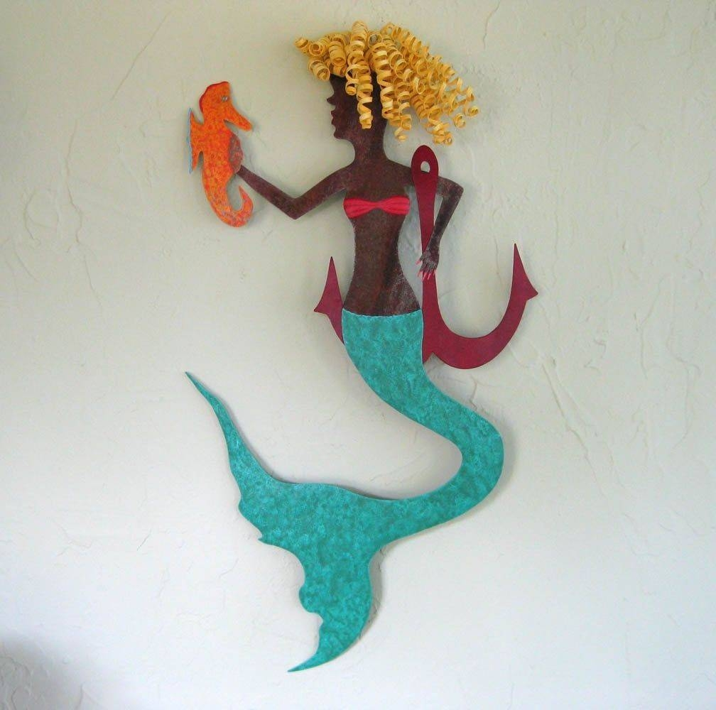Hand Crafted Handmade Upcycled Metal Mermaid With Seahorse Wall For Latest Mermaid Metal Wall Art (View 8 of 20)