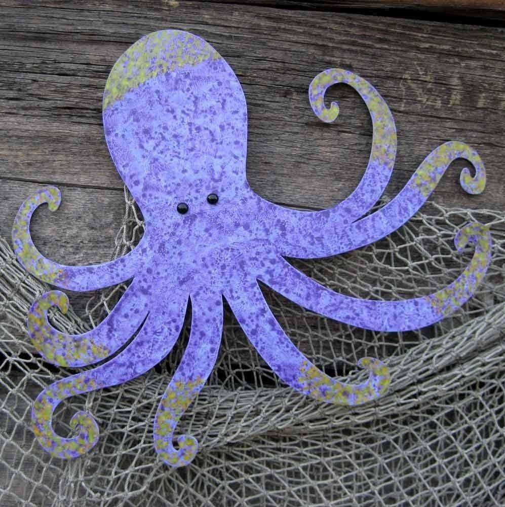 Hand Crafted Handmade Upcycled Metal Octopus Wall Art Sculpture With Regard To Current Handmade Metal Wall Art (View 8 of 20)