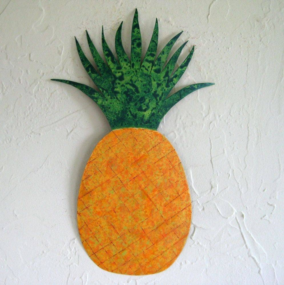 Hand Crafted Handmade Upcycled Metal Pineapple Wall Art Sculpture Inside Newest Pineapple Metal Wall Art (Gallery 3 of 20)