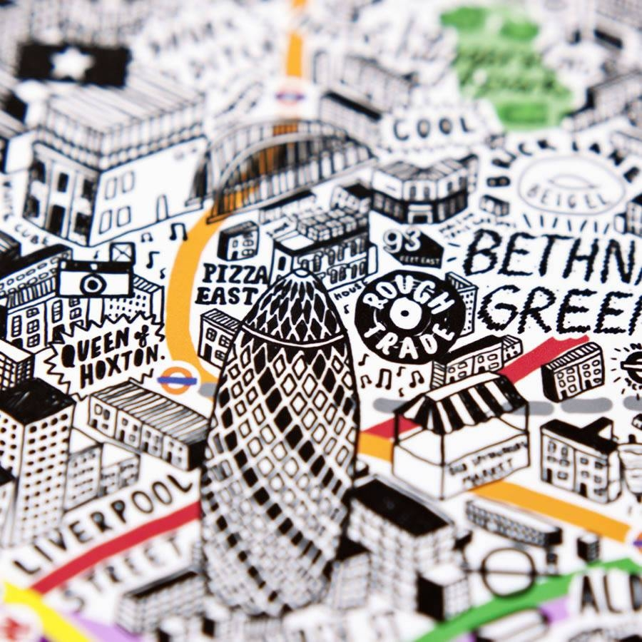 Hand Drawn Map Of London Printevermade | Notonthehighstreet Pertaining To Most Popular Tube Map Wall Art (Gallery 8 of 20)