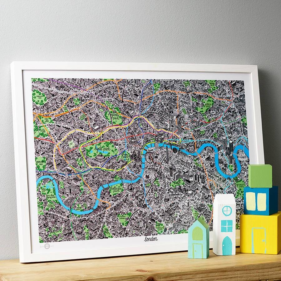 Hand Drawn Map Of London Printevermade | Notonthehighstreet With Regard To Current London Tube Map Wall Art (View 7 of 20)