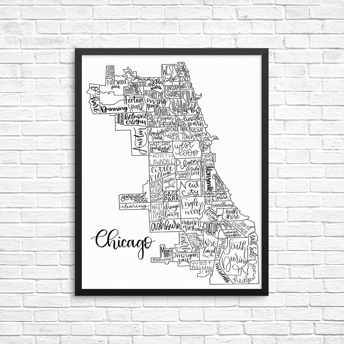 Hand Lettered Chicago Neighborhood Map Home Decor Wall Art Regarding 2017 Chicago Neighborhood Map Wall Art (View 9 of 20)