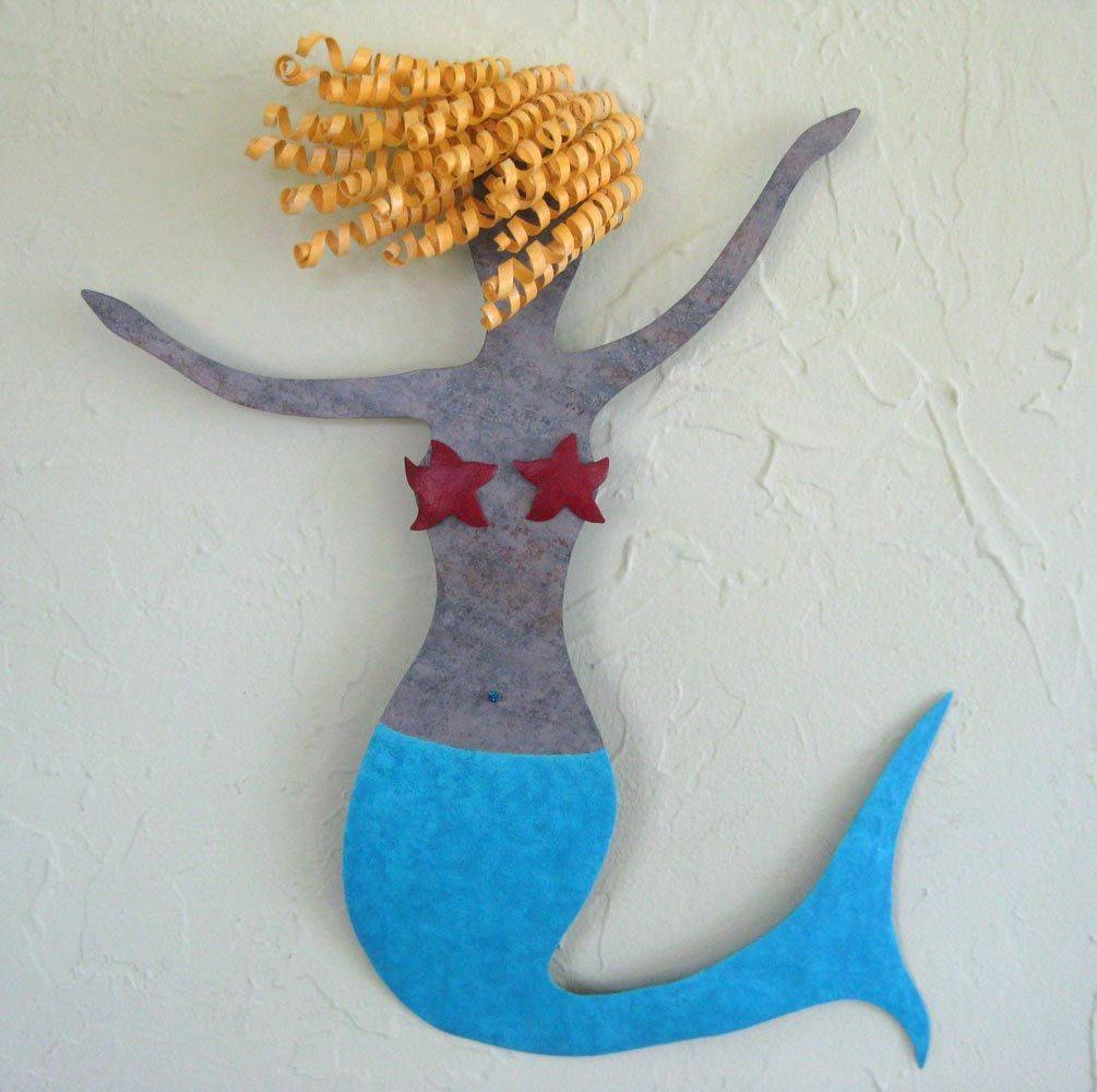 Hand Made Mermaid Metal Wall Art Sea Life – Clara – Beach House Within Most Current Mermaid Metal Wall Art (View 15 of 20)