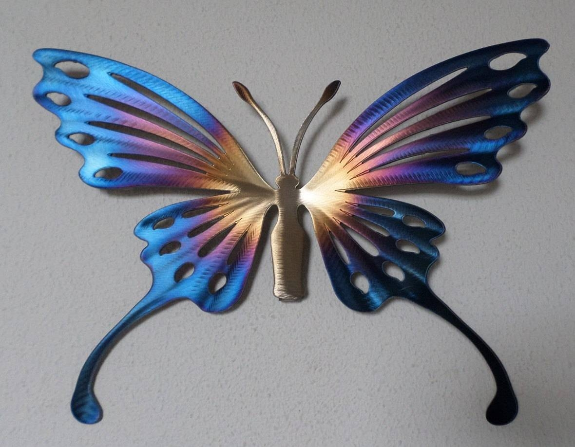 Hand Made Metal Butterfly,wall Art,home Decor,garden,nature,sculpture With Best And Newest Butterfly Garden Metal Wall Art (View 8 of 20)