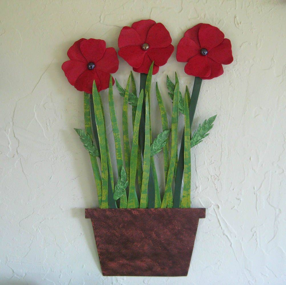 Hand Made Metal Flower Wall Art Sculpture – Poppies – Upcycled Inside Current Poppy Metal Wall Art (Gallery 3 of 20)