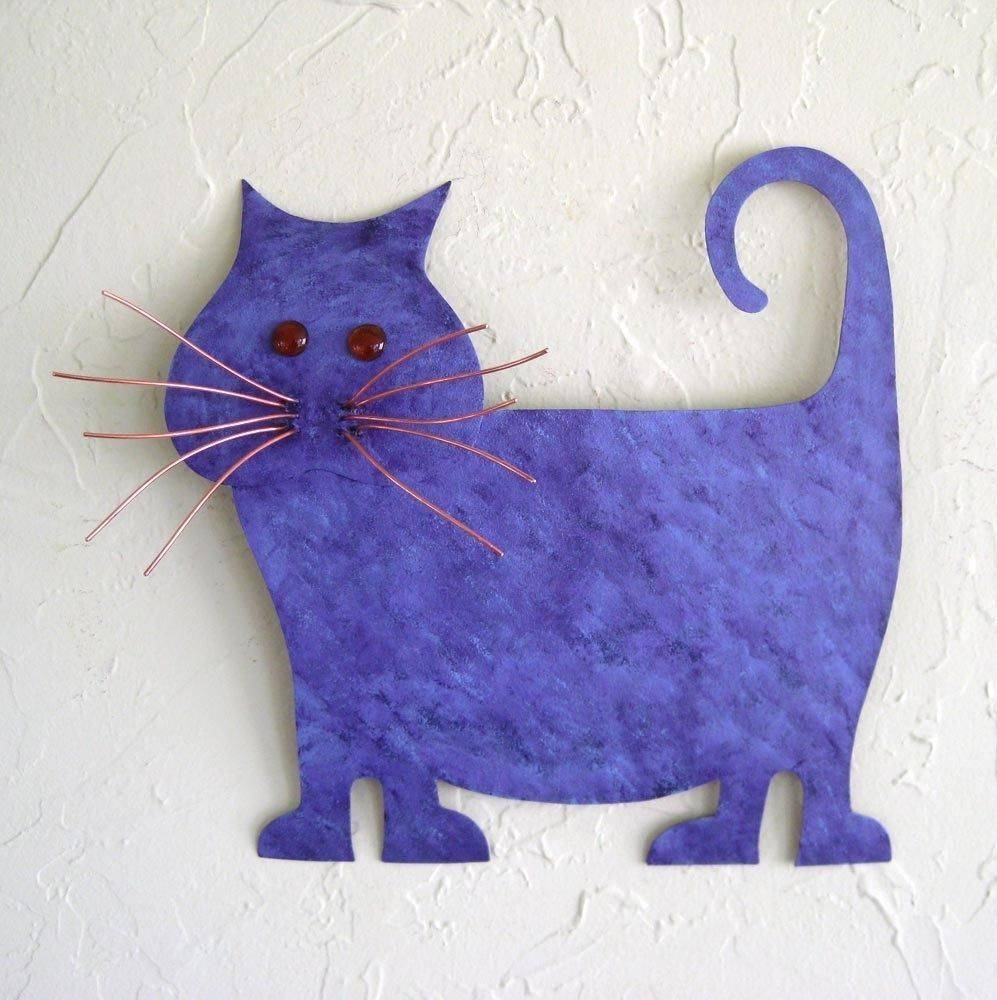Hand Made Upcycled Metal Purple Abstract Cat Wall Artfrivolous Regarding Most Recently Released Cat Metal Wall Art (Gallery 10 of 20)
