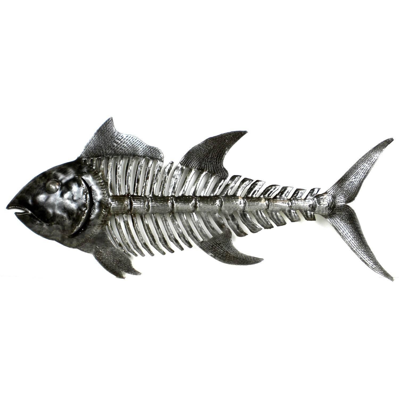 Handcrafted Fish Bones Metal Wall Art , Handmade In Haiti Pertaining To Most Recent Fish Metal Wall Art (View 3 of 20)