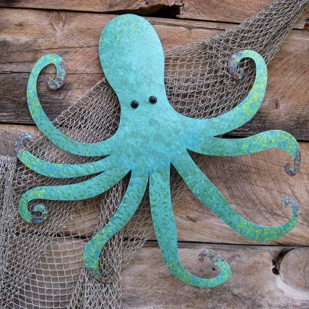 Handmade Large Metal Octopus Wall Sculpture Ocean Wall Decor Teal Within Latest Beach Metal Wall Art (View 8 of 20)